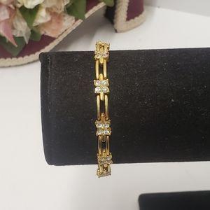 Vintage Flower Crystal gold tone Bracelet